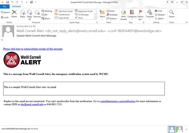 Example Weill Cornell Alert Email